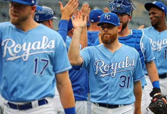 May 1, 2019; Kansas City, MO, USA; Kansas City Royals relief pitcher Ian Kennedy (31) celebrates after defeating the Tampa Bay Rays in the first game of a baseball doubleheader at Kauffman Stadium. Mandatory Credit: Jay Biggerstaff-USA TODAY Sports