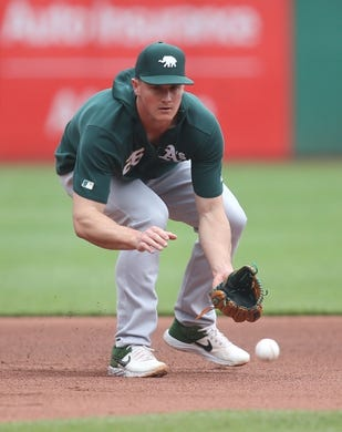 May 3, 2019; Pittsburgh, PA, USA;  Oakland Athletics third baseman Matt Chapman (26) fields ground balls before playing the Pittsburgh Pirates at PNC Park. Mandatory Credit: Charles LeClaire-USA TODAY Sports