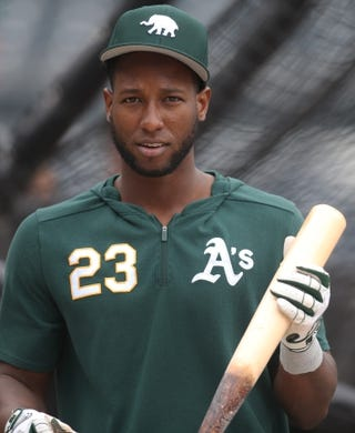 May 3, 2019; Pittsburgh, PA, USA;  Oakland Athletics second baseman Jurickson Profar (23) at the batting cage before playing the Pittsburgh Pirates at PNC Park. Mandatory Credit: Charles LeClaire-USA TODAY Sports