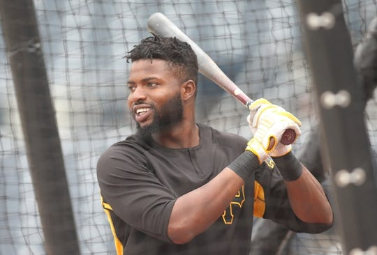 May 4, 2019; Pittsburgh, PA, USA;  Pittsburgh Pirates right fielder Gregory Polanco (25) in the batting cage before playing the Oakland Athletics at PNC Park. Mandatory Credit: Charles LeClaire-USA TODAY Sports
