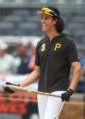 May 4, 2019; Pittsburgh, PA, USA;  Pittsburgh Pirates shortstop Cole Tucker (3) reacts at the batting cage before playing the Oakland Athletics at PNC Park. Mandatory Credit: Charles LeClaire-USA TODAY Sports