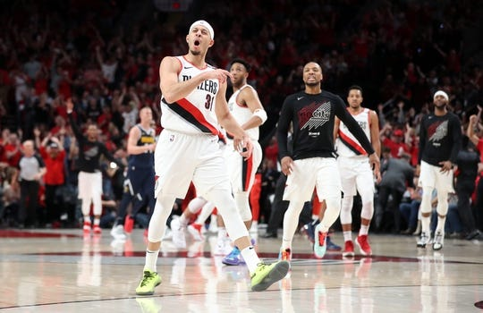May 5, 2019; Portland, OR, USA; Portland Trail Blazers guard Seth Curry (31) reacts after scoring against the Denver Nuggets in the first half of game four of the second round of the 2019 NBA Playoffs at Moda Center. Mandatory Credit: Jaime Valdez-USA TODAY Sports