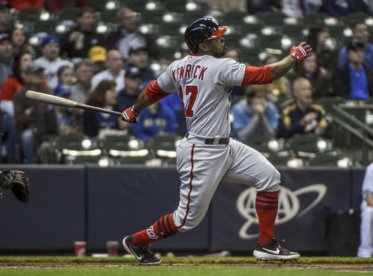 May 6, 2019; Milwaukee, WI, USA;  Washington Nationals first baseman Howie Kendrick (47) hits a 2-run homer in the first inning against the Milwaukee Brewers at Miller Park. Mandatory Credit: Benny Sieu-USA TODAY Sports