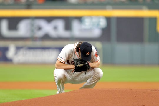 May 6, 2019; Houston, TX, USA; Houston Astros starting pitcher Gerrit Cole (45) reacts on the mound prior to the game against the Kansas City Royals at Minute Maid Park. Mandatory Credit: Erik Williams-USA TODAY Sports