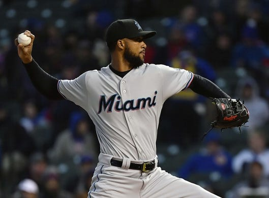 May 6, 2019; Chicago, IL, USA; Miami Marlins starting pitcher Sandy Alcantara (22) delivers a pitch in the first inning against the Chicago Cubs at Wrigley Field. Mandatory Credit: Quinn Harris-USA TODAY Sports