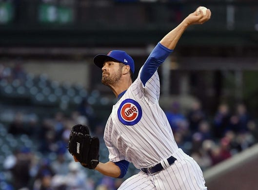 May 6, 2019; Chicago, IL, USA; Chicago Cubs starting pitcher Cole Hamels (35) delivers a pitch in the first inning against the Miami Marlins at Wrigley Field. Mandatory Credit: Quinn Harris-USA TODAY Sports
