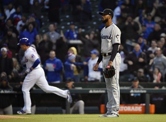 May 6, 2019; Chicago, IL, USA; Miami Marlins starting pitcher Sandy Alcantara (22) looks on after giving up a two run home run in the first inning against the Miami Marlins at Wrigley Field. Mandatory Credit: Quinn Harris-USA TODAY Sports