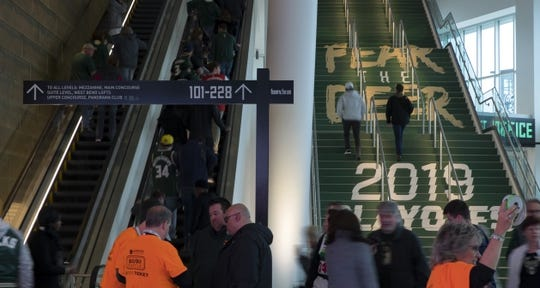 May 8, 2019; Milwaukee, WI, USA; Fans ascend the steps and escalators into Fiserv Forum prior to game five of the second round of the 2019 NBA Playoffs between the Boston Celtics and Milwaukee Bucks. Mandatory Credit: Jeff Hanisch-USA TODAY Sports