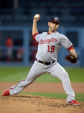 May 10, 2019; Los Angeles, CA, USA; Washington Nationals starting pitcher Anibal Sanchez (19) throws against the Los Angeles Dodgers during the second inning at Dodger Stadium. Mandatory Credit: Gary A. Vasquez-USA TODAY Sports
