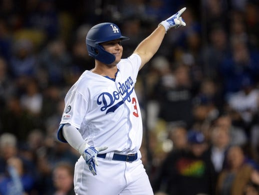 May 10, 2019; Los Angeles, CA, USA; Los Angeles Dodgers left fielder Joc Pederson (31) celebrates his solo home run against the Washington Nationals during the fifth inning at Dodger Stadium. Mandatory Credit: Gary A. Vasquez-USA TODAY Sports