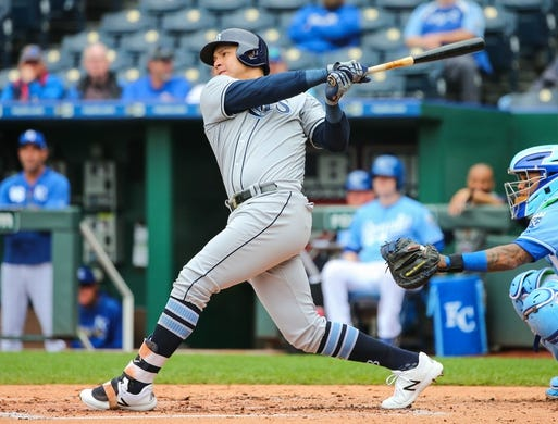 May 1, 2019; Kansas City, MO, USA; Tampa Bay Rays right fielder Avisail Garcis (24) bats against the Kansas City Royals in the first game of a baseball doubleheader at Kauffman Stadium. Mandatory Credit: Jay Biggerstaff-USA TODAY Sports