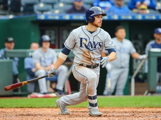 May 1, 2019; Kansas City, MO, USA; Tampa Bay Rays second baseman Brandon Lowe (8) bats against the Kansas City Royals in the first game of a baseball doubleheader at Kauffman Stadium. Mandatory Credit: Jay Biggerstaff-USA TODAY Sports