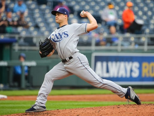 May 1, 2019; Kansas City, MO, USA; Tampa Bay Rays relief pitcher Jalen Beeks (68) pitches against the Kansas City Royals in the first game of a baseball doubleheader at Kauffman Stadium. Mandatory Credit: Jay Biggerstaff-USA TODAY Sports