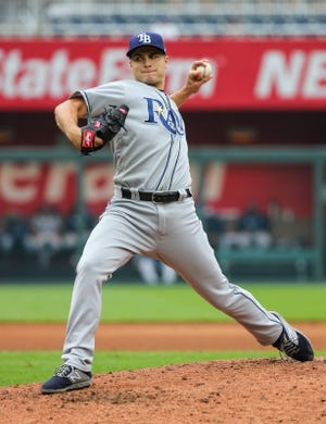 May 1, 2019; Kansas City, MO, USA; Tampa Bay Rays relief pitcher Jalen Beeks (68) warms up against the Kansas City Royals in the first game of a baseball doubleheader at Kauffman Stadium. Mandatory Credit: Jay Biggerstaff-USA TODAY Sports