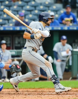 May 1, 2019; Kansas City, MO, USA; Tampa Bay Rays center fielder Kevin Kiermaier (39) bats against the Kansas City Royals in the first game of a baseball doubleheader at Kauffman Stadium. Mandatory Credit: Jay Biggerstaff-USA TODAY Sports