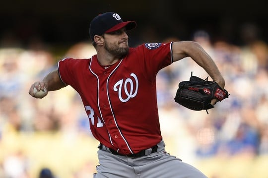 May 11, 2019; Los Angeles, CA, USA; Washington Nationals starting pitcher Max Scherzer (31) pitches during the first inning against the Los Angeles Dodgers at Dodger Stadium. Mandatory Credit: Kelvin Kuo-USA TODAY Sports
