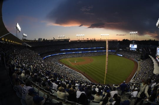 May 11, 2019; Los Angeles, CA, USA; A general view of Dodger Stadium during the fifth inning between the Los Angeles Dodgers and Washington Nationals. Mandatory Credit: Kelvin Kuo-USA TODAY Sport