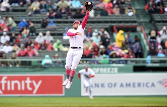 May 12, 2019; Boston, MA, USA; Boston Red Sox second baseman Michael Chavis (23) makes a catch for an out during the first inning against the Seattle Mariners at Fenway Park. Mandatory Credit: Bob DeChiara-USA TODAY Sports