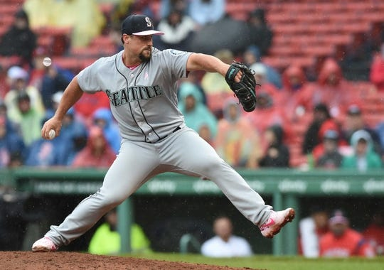 May 12, 2019; Boston, MA, USA; Seattle Mariners relief pitcher Dan Altavilla (53) pitches during the seventh inning against the Boston Red Sox at Fenway Park. Mandatory Credit: Bob DeChiara-USA TODAY Sports