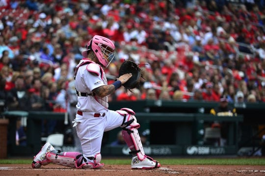 May 12, 2019; St. Louis, MO, USA; St. Louis Cardinals catcher Yadier Molina (4) looks on during the first inning against the Pittsburgh Pirates at Busch Stadium. Mandatory Credit: Jeff Curry-USA TODAY Sports