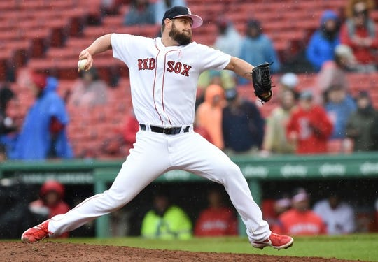 May 12, 2019; Boston, MA, USA; Boston Red Sox starting pitcher Josh Smith (67) pitches during the ninth inning against the Seattle Mariners at Fenway Park. Mandatory Credit: Bob DeChiara-USA TODAY Sports