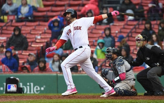 May 12, 2019; Boston, MA, USA; Boston Red Sox left fielder J.D. Martinez (28) hits a two run home run during the eighth inning against the Seattle Mariners at Fenway Park. Mandatory Credit: Bob DeChiara-USA TODAY Sports
