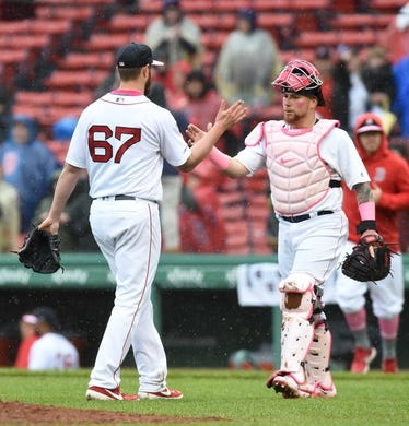 May 12, 2019; Boston, MA, USA; Boston Red Sox starting pitcher Josh Smith (67) is congratulated by catcher Christian Vazquez (7) after defeating the Seattle Mariners at Fenway Park. Mandatory Credit: Bob DeChiara-USA TODAY Sports