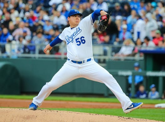 May 11, 2019; Kansas City, MO, USA; Kansas City Royals starting pitcher Brad Keller  (56) pitches against the Philadelphia Phillies at Kauffman Stadium. Mandatory Credit: Jay Biggerstaff-USA TODAY Sports