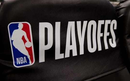 May 8, 2019; Milwaukee, WI, USA; NBA Playoffs logo on a Milwaukee Bucks bench seat prior to game five of the second round of the 2019 NBA Playoffs against the Boston Celtics at Fiserv Forum. Mandatory Credit: Jeff Hanisch-USA TODAY Sports