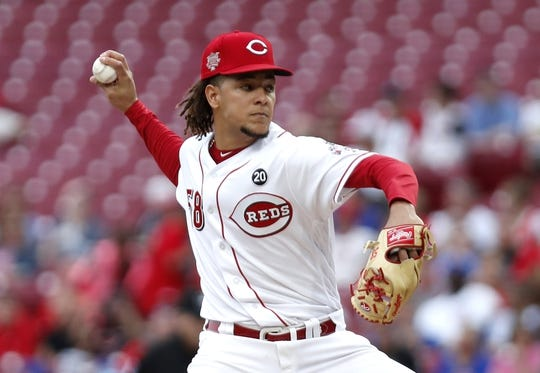 May 16, 2019; Cincinnati, OH, USA; Cincinnati Reds starting pitcher Luis Castillo (58) throws against the Chicago Cubs during the first inning at Great American Ball Park. Mandatory Credit: David Kohl-USA TODAY Sports