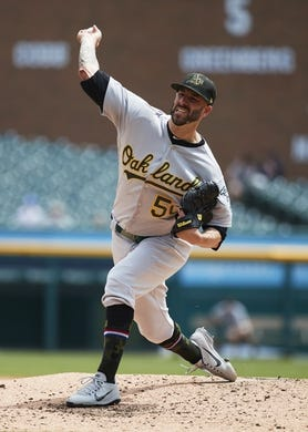 May 19, 2019; Detroit, MI, USA; Oakland Athletics starting pitcher Mike Fiers (50) pitches in the second inning against the Detroit Tigers at Comerica Park. Mandatory Credit: Rick Osentoski-USA TODAY Sports