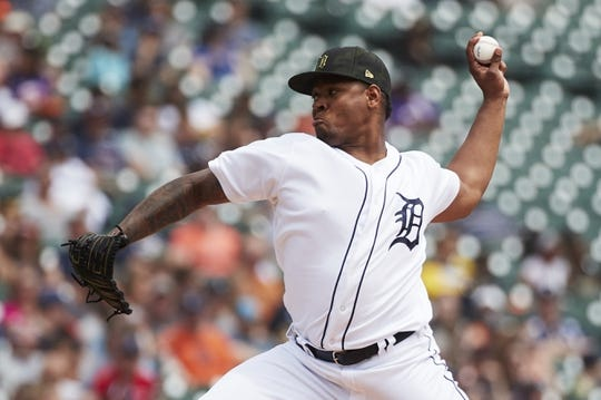 May 19, 2019; Detroit, MI, USA; Detroit Tigers starting pitcher Gregory Soto (65) pitches in the third inning against the Oakland Athletics at Comerica Park. Mandatory Credit: Rick Osentoski-USA TODAY Sports