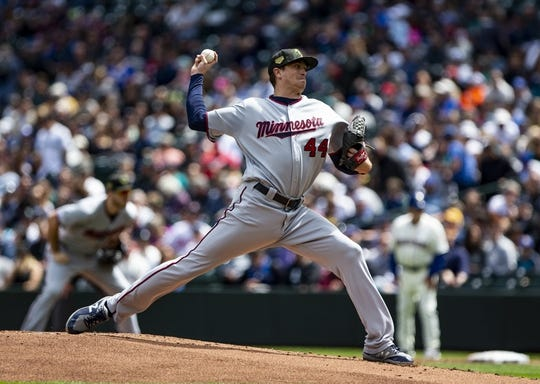 May 19, 2019; Seattle, WA, USA; Minnesota Twins starting pitcher Kyle Gibson (44) delivers against the Seattle Mariners in the first inning at T-Mobile Park. Mandatory Credit: Lindsey Wasson-USA TODAY Sports