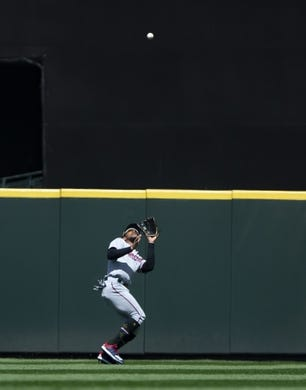 May 19, 2019; Seattle, WA, USA; Minnesota Twins center fielder Byron Buxton (25) catches a pop fly by Seattle Mariners center fielder Mallex Smith (0) in the third inning at T-Mobile Park. Mandatory Credit: Lindsey Wasson-USA TODAY Sports
