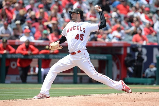 May 19, 2019; Anaheim, CA, USA; Los Angeles Angels starting pitcher Tyler Skaggs (45) throws against the Kansas City Royals during the second inning at Angel Stadium of Anaheim. Mandatory Credit: Gary A. Vasquez-USA TODAY Sports