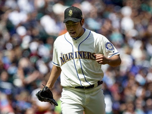 May 19, 2019; Seattle, WA, USA; Seattle Mariners starting pitcher Yusei Kikuchi (18) reacts to getting the third out in the fourth inning against the Minnesota Twins at T-Mobile Park. Mandatory Credit: Lindsey Wasson-USA TODAY Sports
