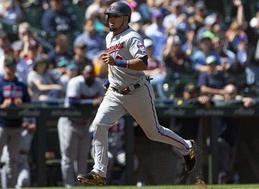 May 19, 2019; Seattle, WA, USA; Minnesota Twins second baseman Luis Arraez (2) scores on a throwing error by Seattle Mariners starting pitcher Yusei Kikuchi (not pictured) in the fifth inning at T-Mobile Park. Mandatory Credit: Lindsey Wasson-USA TODAY Sports