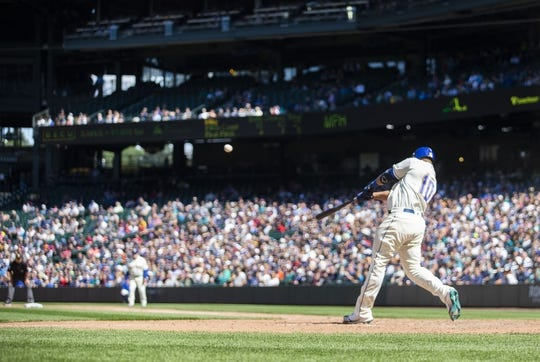 May 19, 2019; Seattle, WA, USA; Seattle Mariners first baseman Edwin Encarnacion (10) hits a three-run home run in the seventh inning against the Minnesota Twins at T-Mobile Park. Mandatory Credit: Lindsey Wasson-USA TODAY Sports