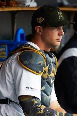 May 19, 2019; Detroit, MI, USA; Detroit Tigers catcher Grayson Greiner (17) sits in dugout prior to the game against the Oakland Athletics at Comerica Park. Mandatory Credit: Rick Osentoski-USA TODAY Sports