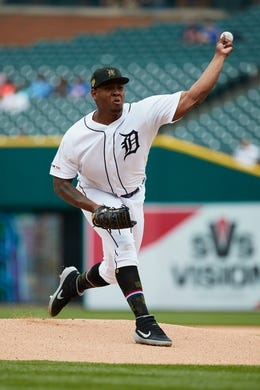 May 19, 2019; Detroit, MI, USA; Detroit Tigers starting pitcher Gregory Soto (65) pitches in the first inning against the Oakland Athletics at Comerica Park. Mandatory Credit: Rick Osentoski-USA TODAY Sports