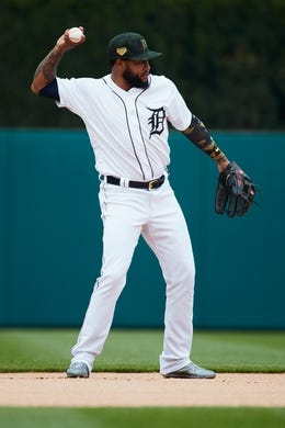 May 19, 2019; Detroit, MI, USA; Detroit Tigers third baseman Ronny Rodriguez (60) in the field against the Oakland Athletics at Comerica Park. Mandatory Credit: Rick Osentoski-USA TODAY Sports