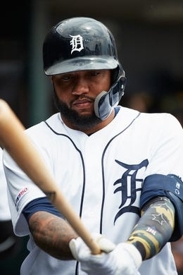 May 19, 2019; Detroit, MI, USA; Detroit Tigers third baseman Ronny Rodriguez (60) in the dugout against the Oakland Athletics at Comerica Park. Mandatory Credit: Rick Osentoski-USA TODAY Sports