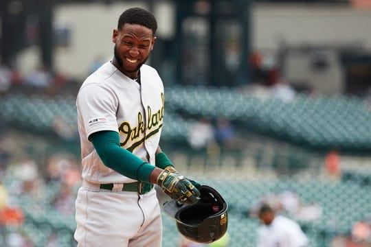 May 19, 2019; Detroit, MI, USA; Oakland Athletics shortstop Jurickson Profar (23) reacts after striking out against the Detroit Tigers at Comerica Park. Mandatory Credit: Rick Osentoski-USA TODAY Sports