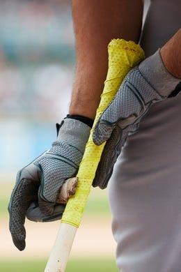 May 19, 2019; Detroit, MI, USA; Oakland Athletics first baseman Matt Olson (28) gets set to bat against the Detroit Tigers at Comerica Park. Mandatory Credit: Rick Osentoski-USA TODAY Sports