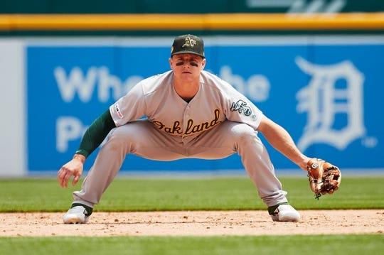 May 19, 2019; Detroit, MI, USA; Oakland Athletics third baseman Matt Chapman (26) in the field against the Detroit Tigers at Comerica Park. Mandatory Credit: Rick Osentoski-USA TODAY Sports