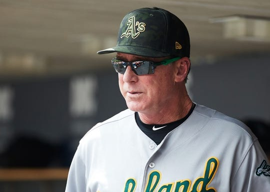 May 19, 2019; Detroit, MI, USA; Oakland Athletics manager Bob Melvin (6) in the dugout during the second inning against the Detroit Tigers at Comerica Park. Mandatory Credit: Rick Osentoski-USA TODAY Sports