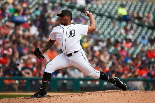 May 19, 2019; Detroit, MI, USA; Detroit Tigers starting pitcher Gregory Soto (65) pitches against the Oakland Athletics at Comerica Park. Mandatory Credit: Rick Osentoski-USA TODAY Sports