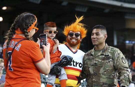 May 21, 2019; Houston, TX, USA; Fans take pictures before a game between the Houston Astros and the Chicago White Sox at Minute Maid Park. Mandatory Credit: Troy Taormina-USA TODAY Sports