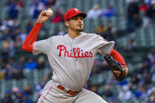 May 21, 2019; Chicago, IL, USA; Philadelphia Phillies starting pitcher Zach Eflin (56) pitches during the first inning against the Chicago Cubs at Wrigley Field. Mandatory Credit: Patrick Gorski-USA TODAY Sports