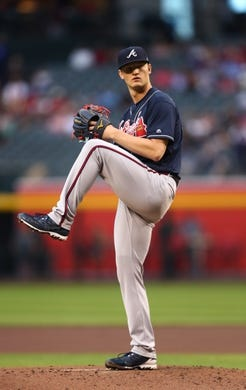 May 9, 2019; Phoenix, AZ, USA; Atlanta Braves pitcher Mike Soroka against the Arizona Diamondbacks at Chase Field. Mandatory Credit: Mark J. Rebilas-USA TODAY Sports